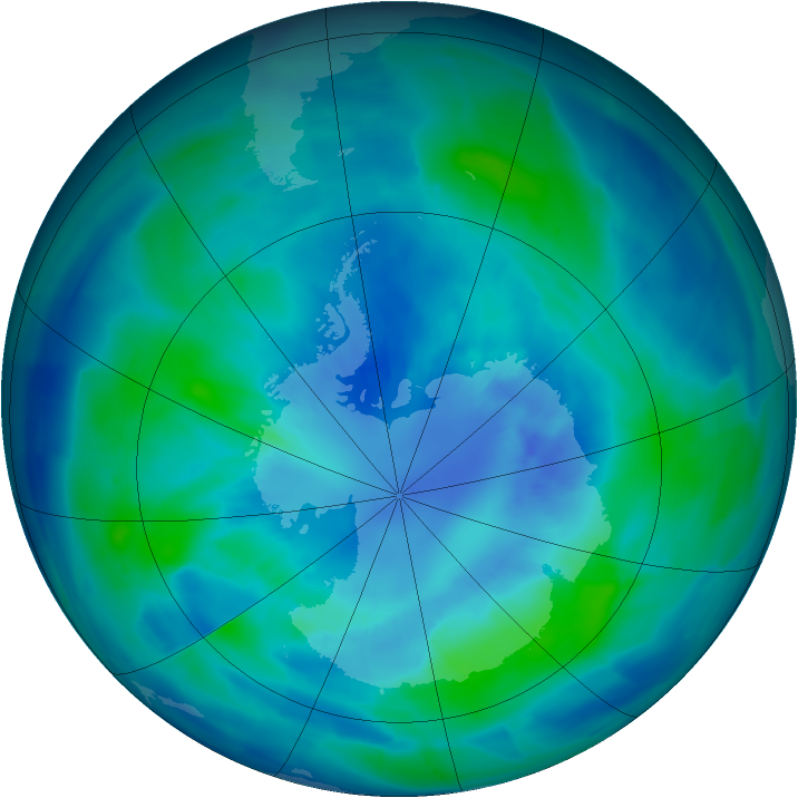Antarctic ozone map for 02 April 2009