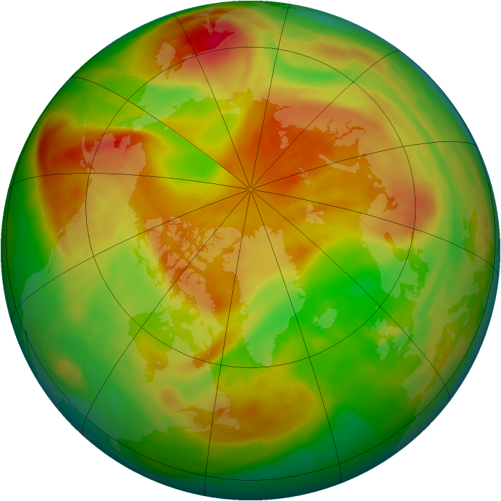 Arctic ozone map for 18 April 2009