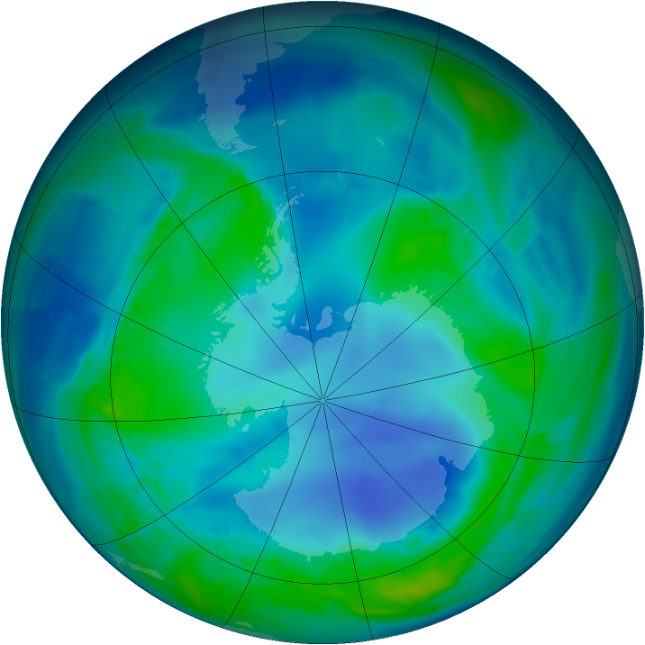 Antarctic ozone map for 02 May 2009