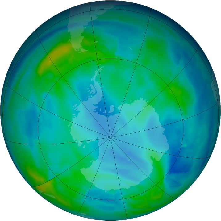 Antarctic ozone map for 09 May 2009