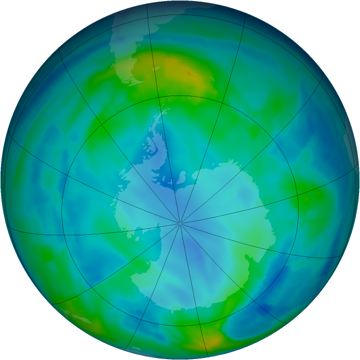 Antarctic ozone map for 10 May 2009
