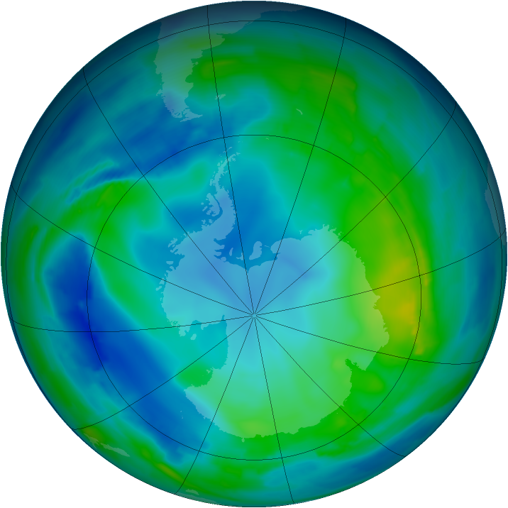 Antarctic ozone map for 13 May 2009