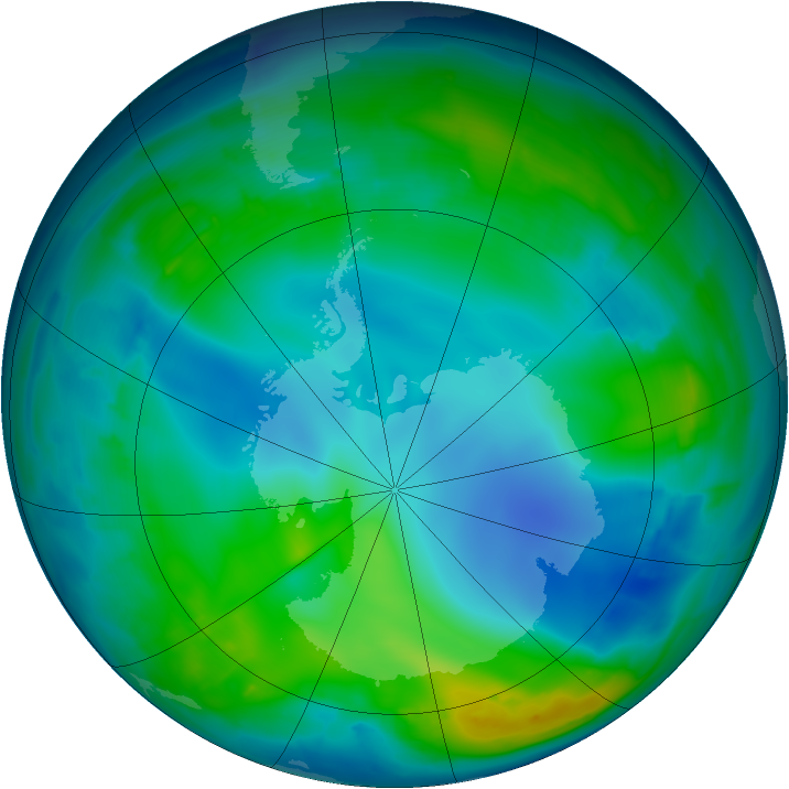 Antarctic ozone map for 19 May 2009