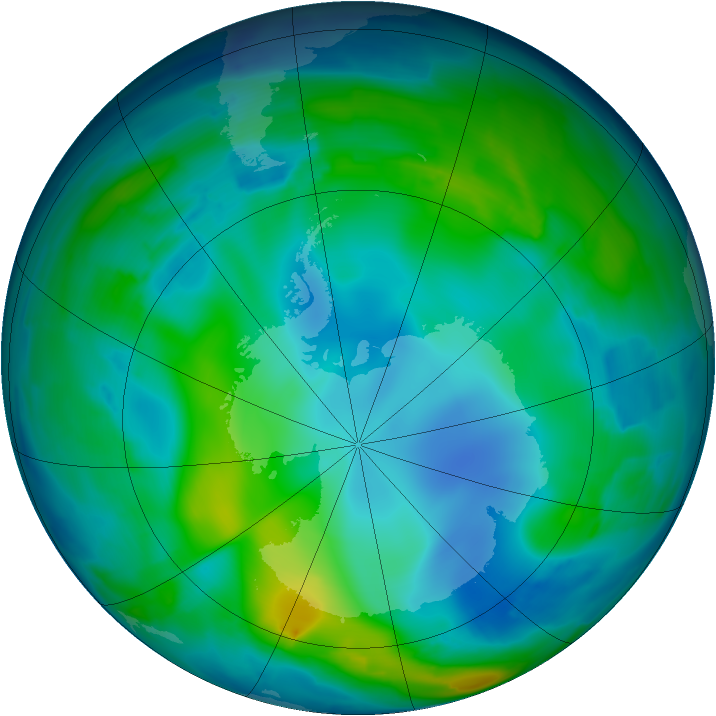 Antarctic ozone map for 21 May 2009