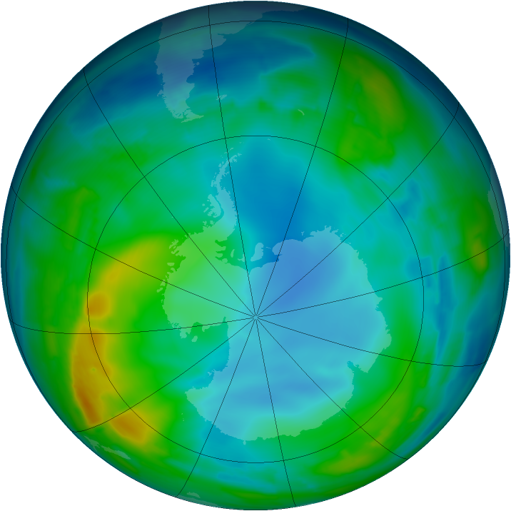 Antarctic ozone map for 30 May 2009