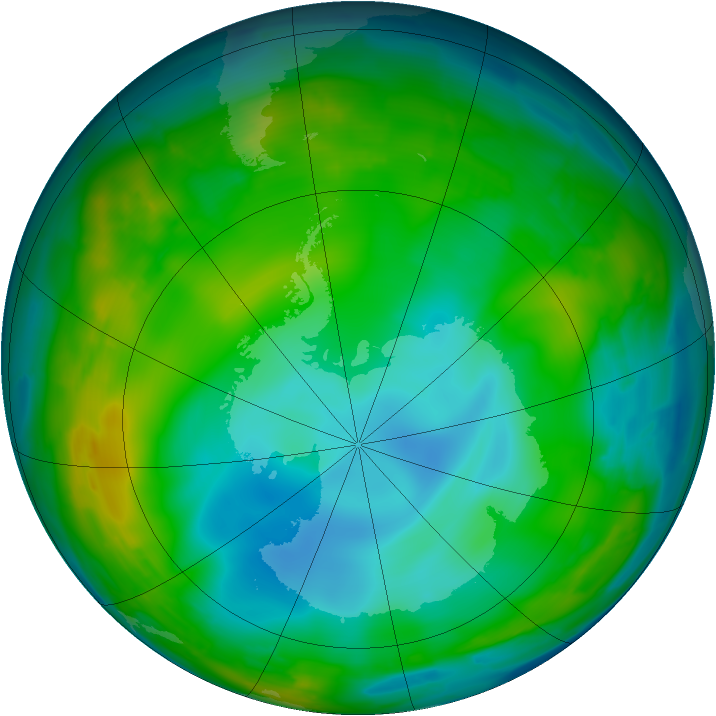 Antarctic ozone map for 02 July 2009