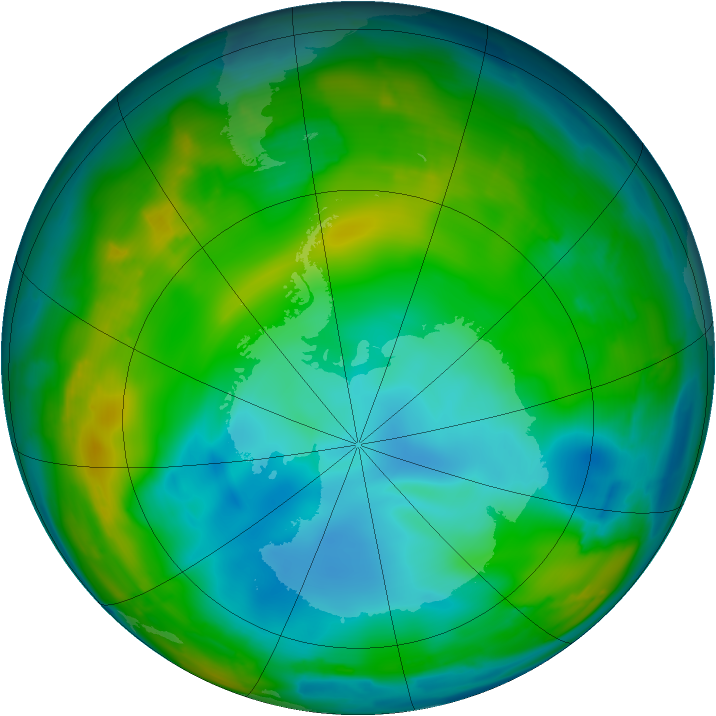 Antarctic ozone map for 03 July 2009