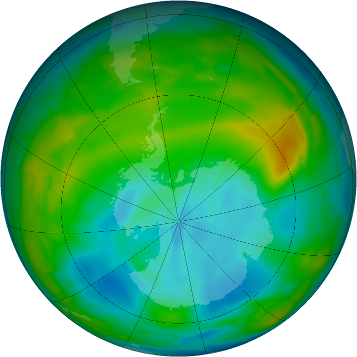 Antarctic ozone map for 05 July 2009