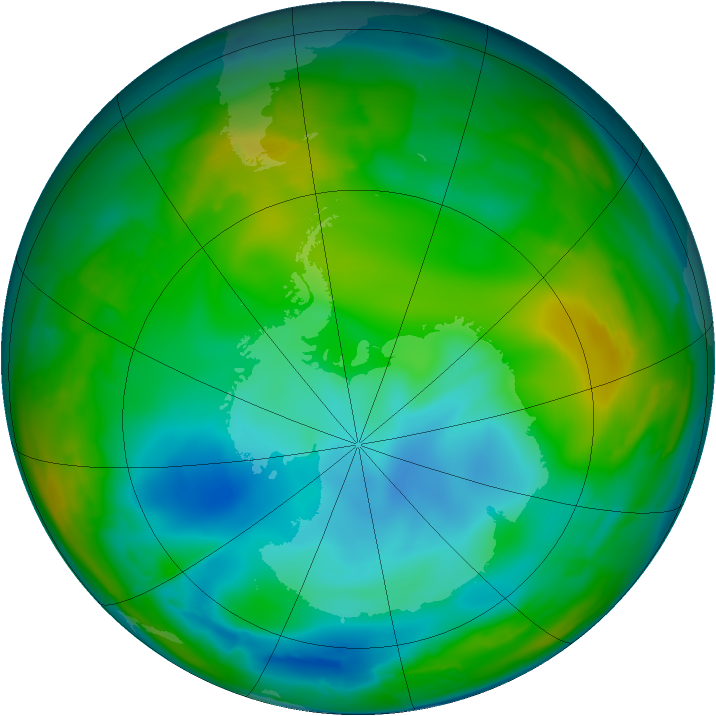 Antarctic ozone map for 07 July 2009