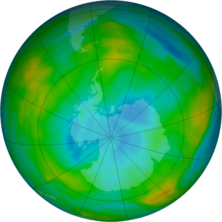 Antarctic ozone map for 13 July 2009