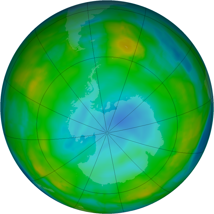 Antarctic ozone map for 14 July 2009