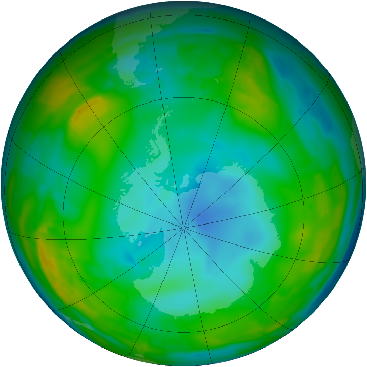 Antarctic ozone map for 15 July 2009