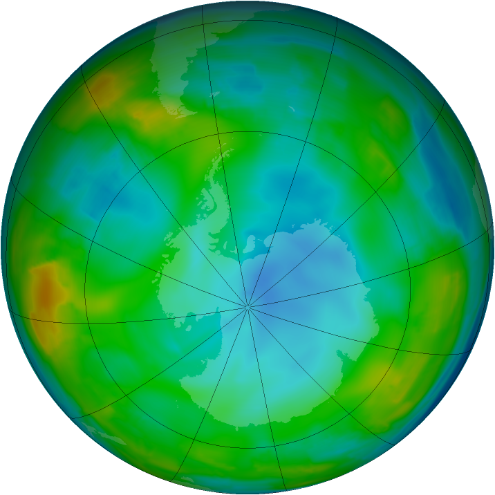 Antarctic ozone map for 16 July 2009