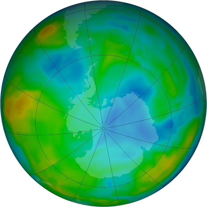 Antarctic ozone map for 17 July 2009