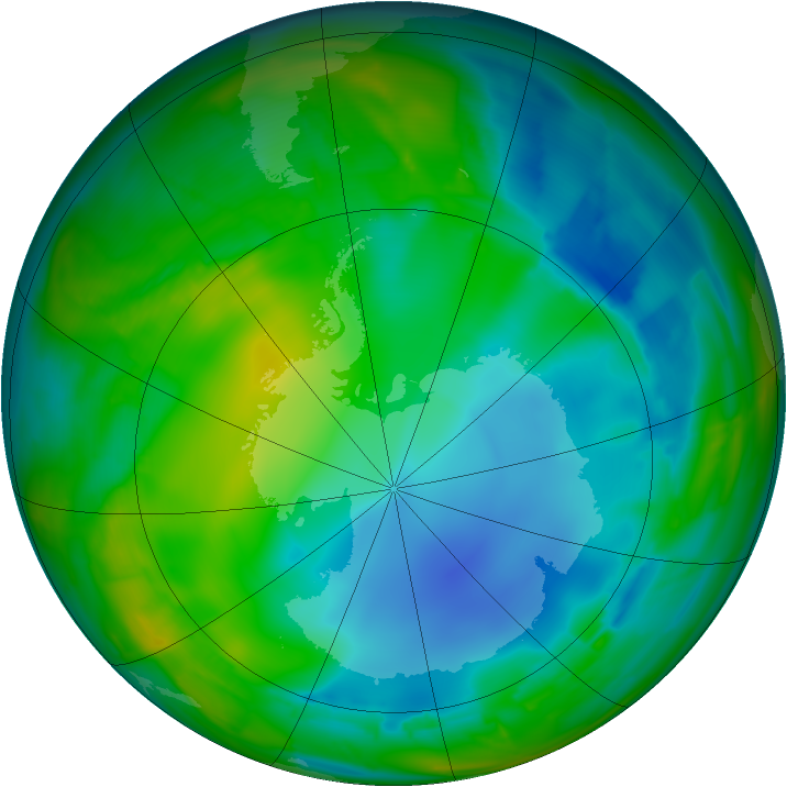 Antarctic ozone map for 23 July 2009