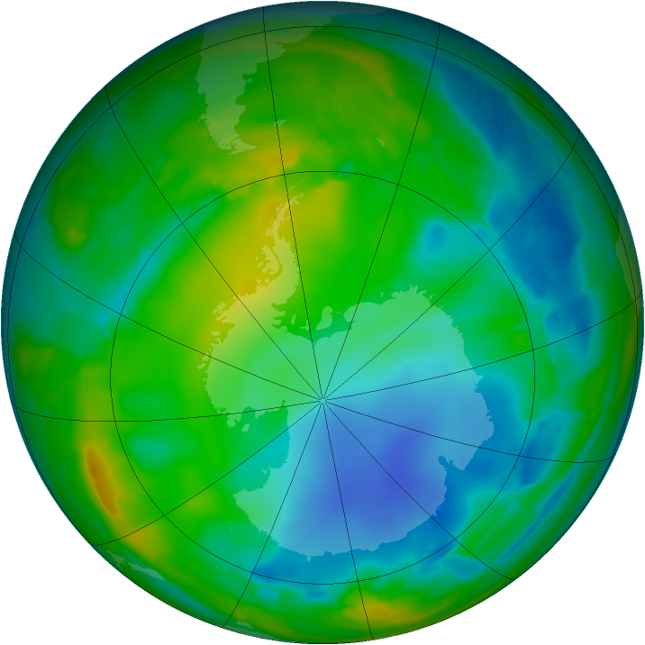 Antarctic ozone map for 24 July 2009