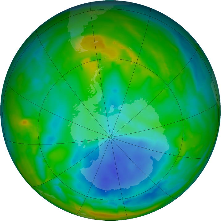 Antarctic ozone map for 26 July 2009
