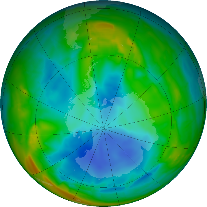 Antarctic ozone map for 27 July 2009