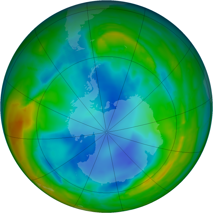 Antarctic ozone map for 29 July 2009