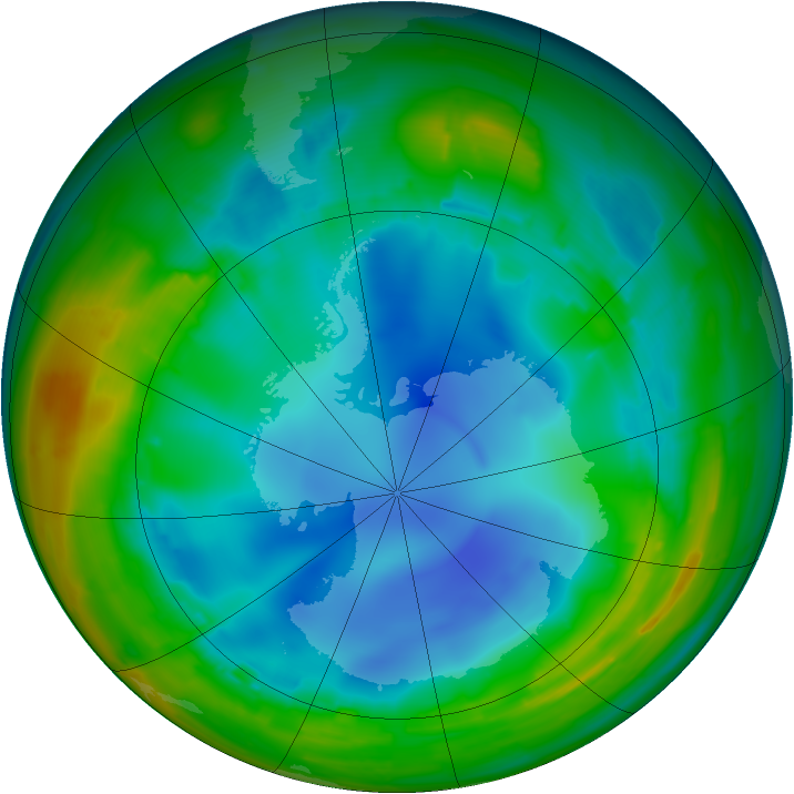 Antarctic ozone map for 30 July 2009