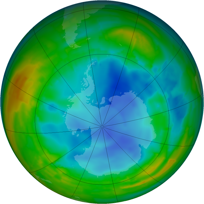 Antarctic ozone map for 31 July 2009