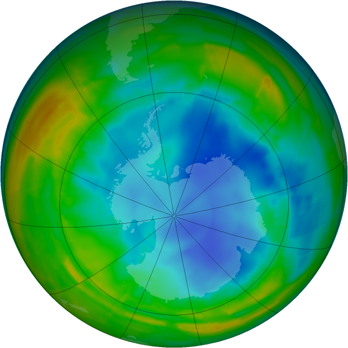 Antarctic ozone map for 01 August 2009