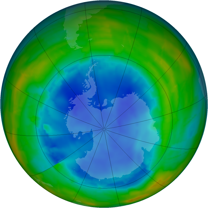 Antarctic ozone map for 10 August 2009