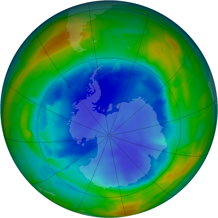 Antarctic ozone map for 15 August 2009