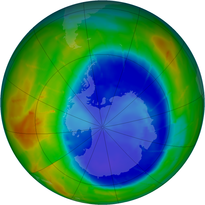 Antarctic ozone map for 30 August 2009