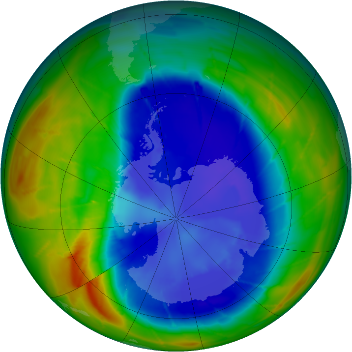 Antarctic ozone map for 02 September 2009