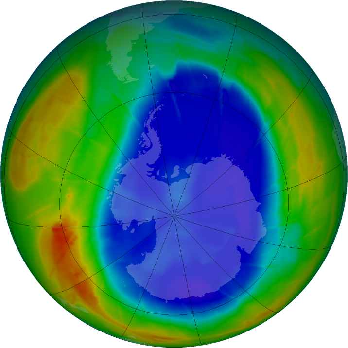 Antarctic ozone map for 03 September 2009