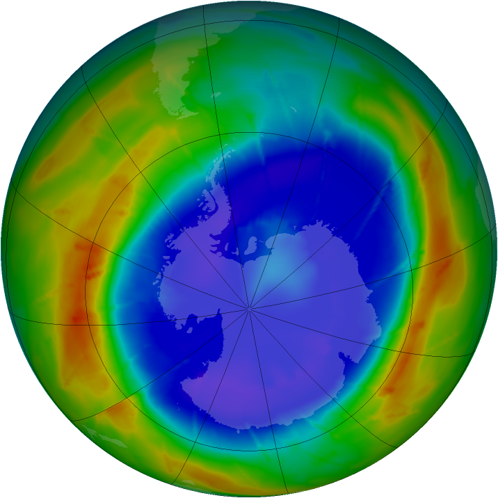 Antarctic ozone map for 05 September 2009