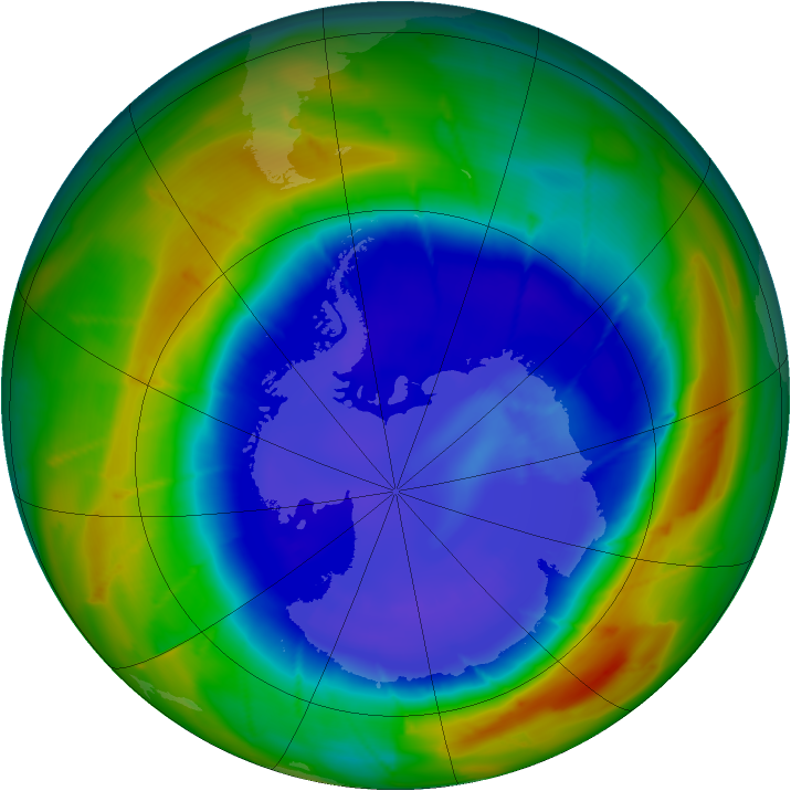 Antarctic ozone map for 07 September 2009