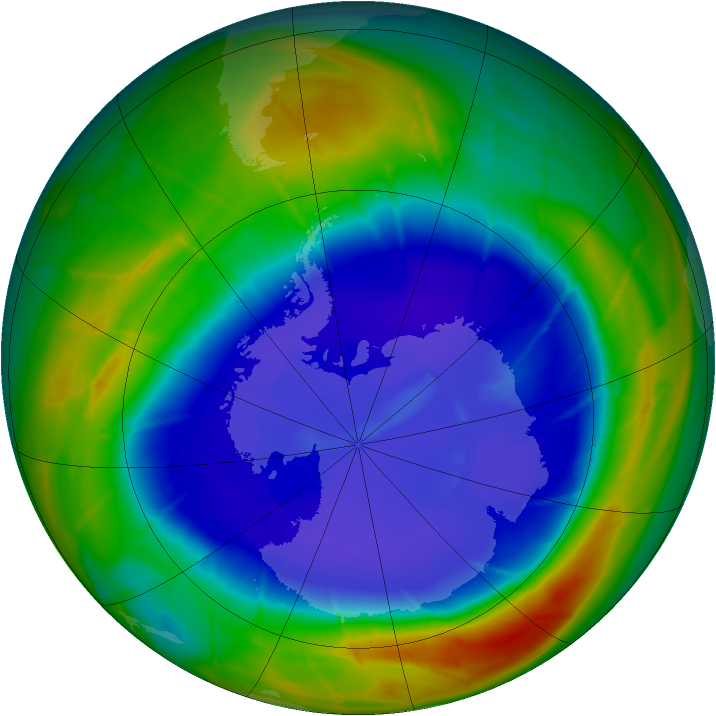 Antarctic ozone map for 09 September 2009