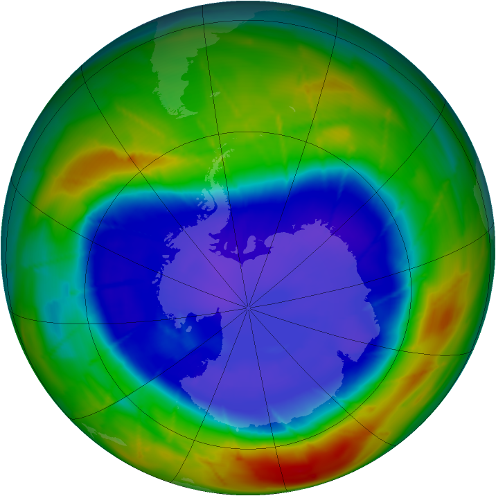 Antarctic ozone map for 11 September 2009