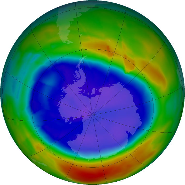 Antarctic ozone map for 13 September 2009
