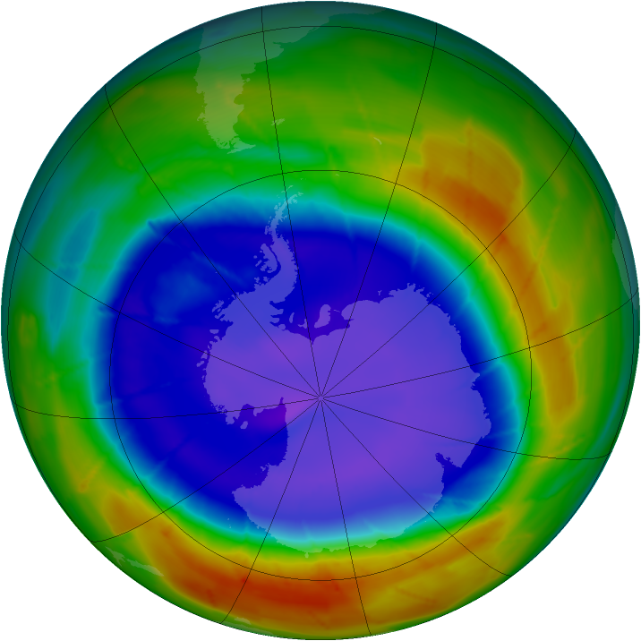Antarctic ozone map for 14 September 2009