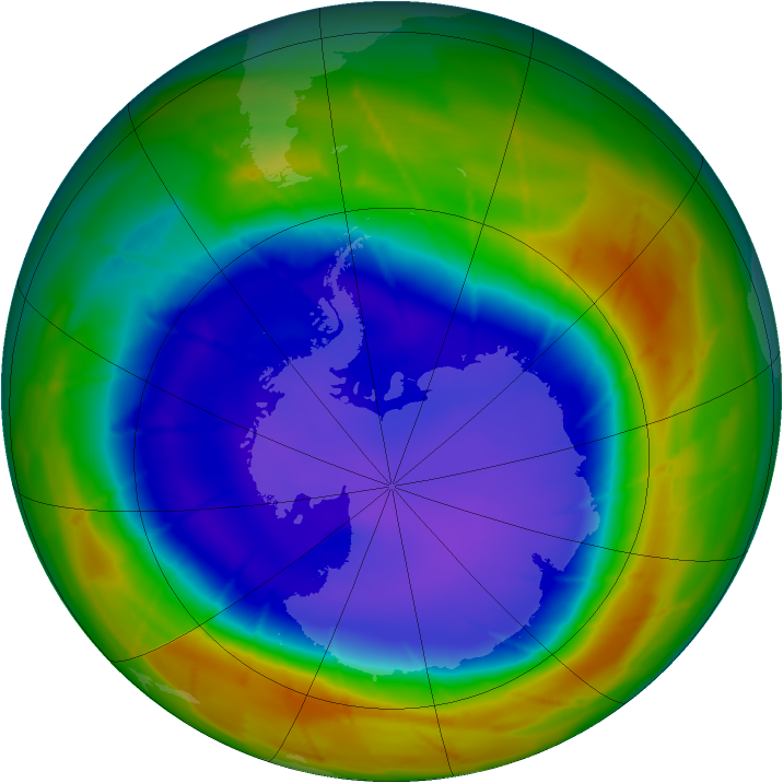Antarctic ozone map for 15 September 2009