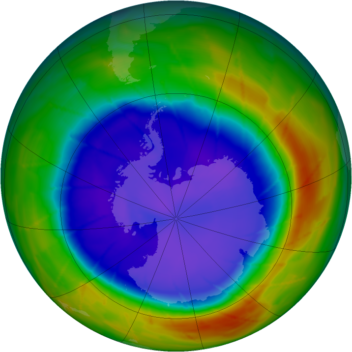 Antarctic ozone map for 17 September 2009