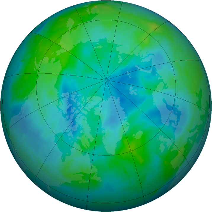 Arctic ozone map for 18 September 2009