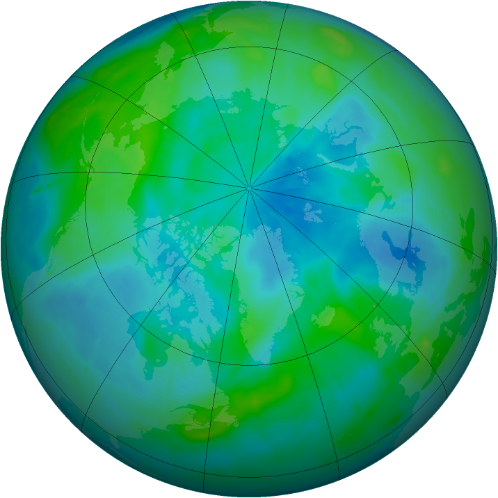 Arctic ozone map for 19 September 2009