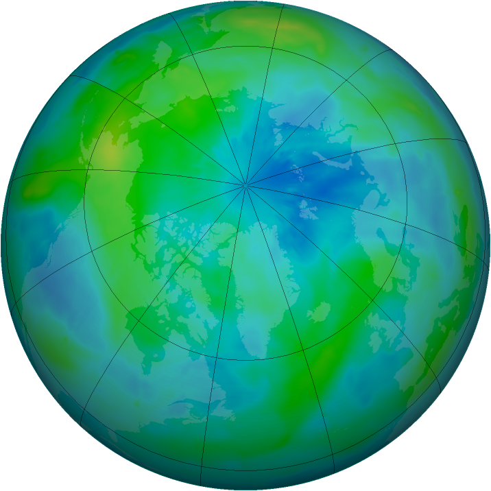 Arctic ozone map for 22 September 2009