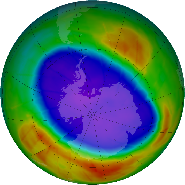 Antarctic ozone map for 23 September 2009