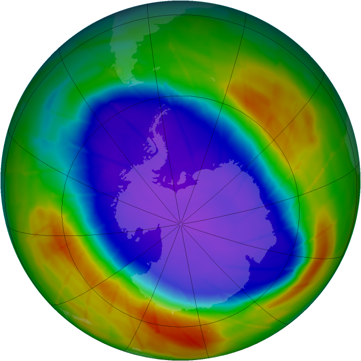 Antarctic ozone map for 24 September 2009