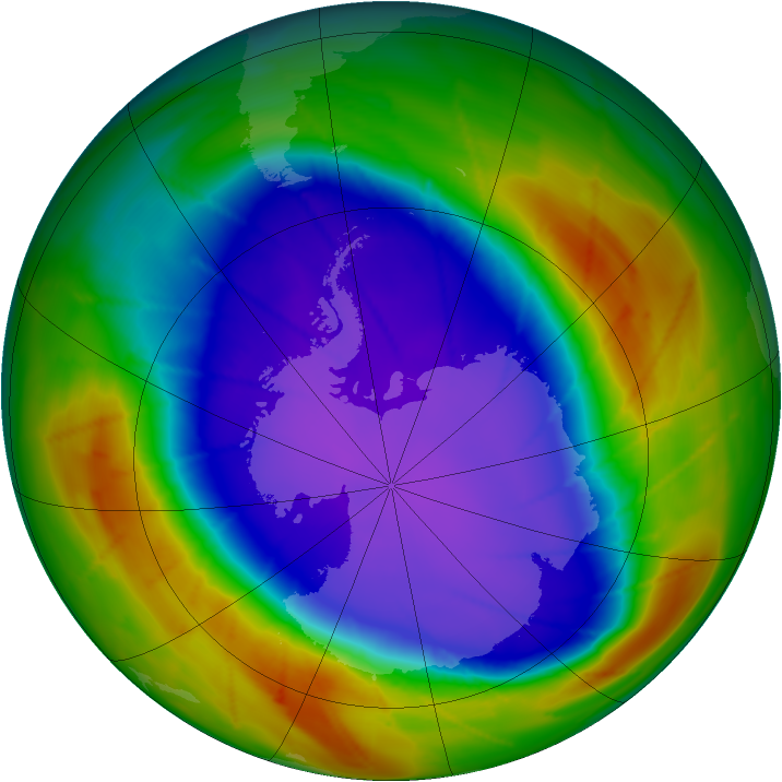 Antarctic ozone map for 25 September 2009