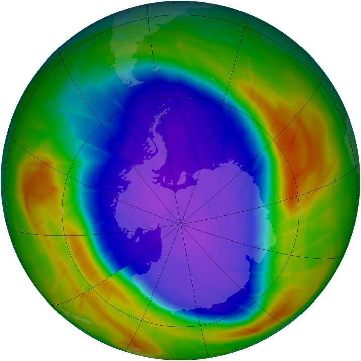 Antarctic ozone map for 26 September 2009