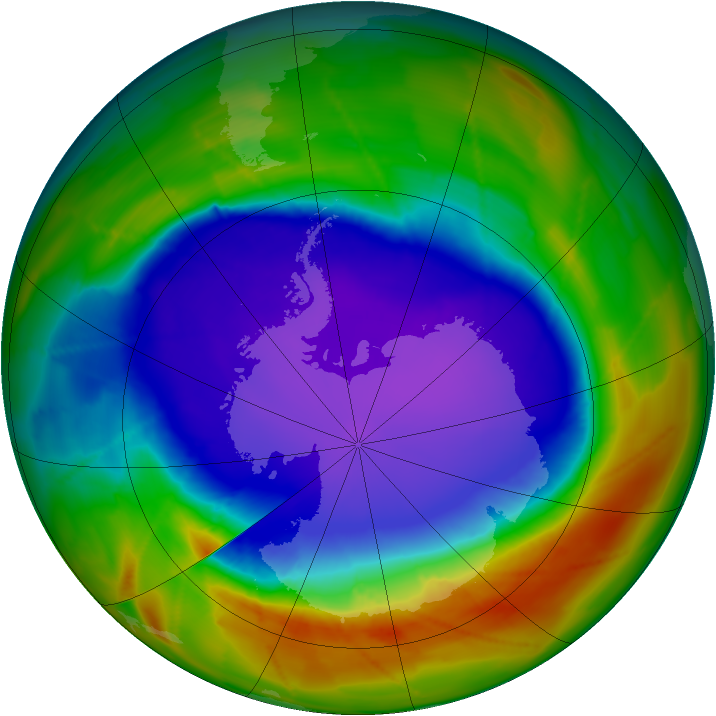 Antarctic ozone map for 01 October 2009