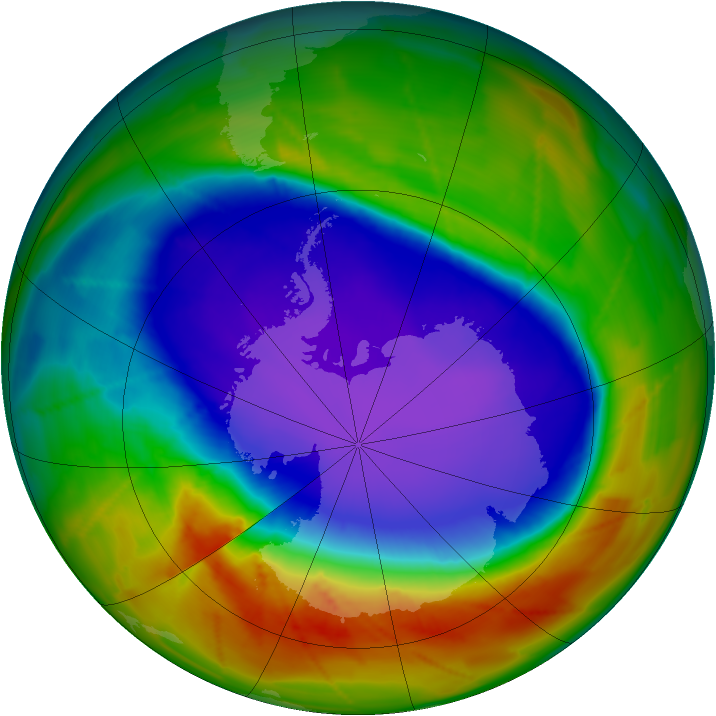 Antarctic ozone map for 02 October 2009