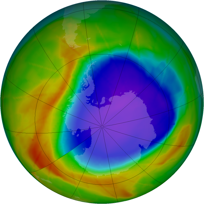 Antarctic ozone map for 10 October 2009