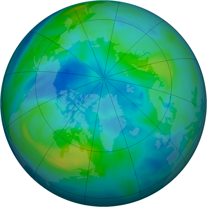 Arctic ozone map for 11 October 2009